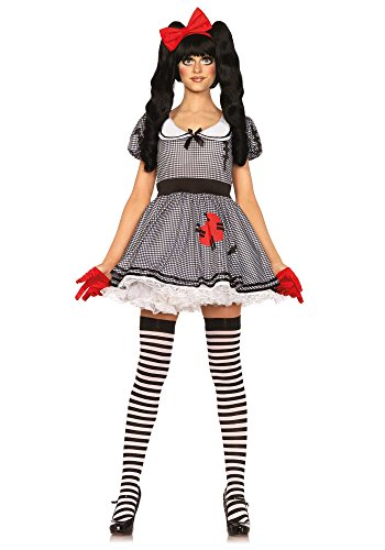 Leg Avenue Women's Wind-Me-Up Dolly Costume, Black/White, Small (Me Doll)