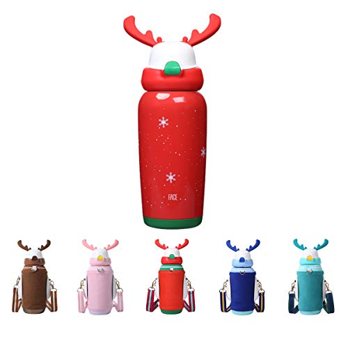 (FACE Water Bottle for Kids with BPA Free Sippy Straw Thermos Vacuum insulated Stainless Steel Drink Cup Cute Style Christmas Birthday Gift)