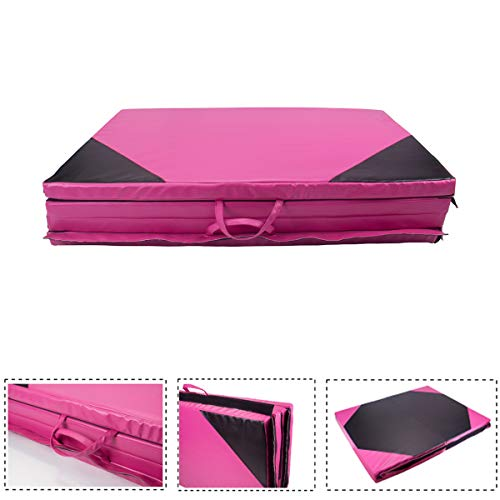 Polar Aurora 4'x8'x2 Multipe Colors Thick Folding Gymnastics Gym Exercise Aerobics Mats Stretching Fitness Yoga 10 Colors (Pink-Black)