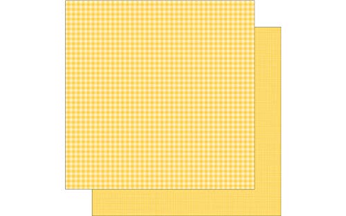 DOODLEBUG Ging Bumbleb Paper 12x12 Gingham Linen Bumblebee