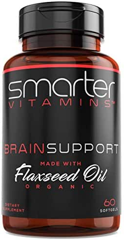 Brain Support Nootropic Supplement, Brain Booster & Memory Support, Made with Alpha-GPC, L-Tyrosine & Acetyl L-Carnitine ALCAR, Organic Flaxseed Oil, ALA DHA Brain Booster 60 Softgels