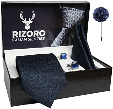 Rizoro Mens Plaid Pasiley Silk Necktie Gift Set With Pocket Square Cufflinks & Brooch Pin Formal Tie With Leatherite Box (JCRX Free Size)