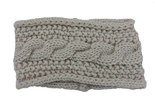 Violet & Virtue Women's Cozy Cable Knit Infinity Headband (Beige)