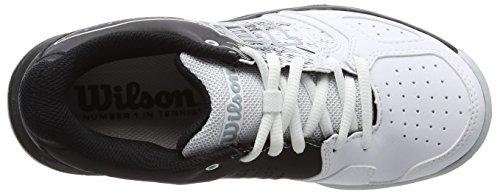 Wilson Kaos Comp Jr Bk/Wh/Pearl Blue 3, Scarpe da Tennis Unisex-Bambini, Nero (Black/White/Pearl Blue), 35.5 EU