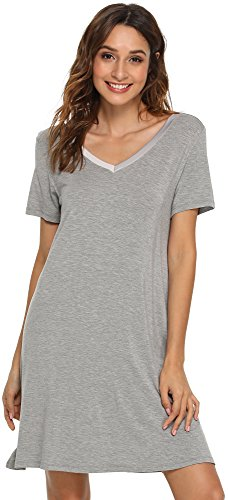 GYS Women's Short Sleeve Nightshirt V Neck Bamboo Nightgown, Small, Heather Grey (Nightshirt Cotton)