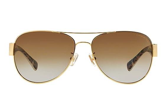 b1c7988450c6 Amazon.com: Coach Womens L138 Sunglasses (HC7059) Gold/Brown Metal -  Polarized - 58mm: Clothing