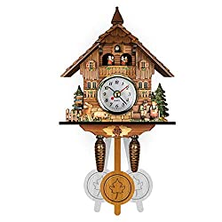 Retro Style Wood Cuckoo Wall Clock Battery Quartz Clock Vintage Antique Clock with Pendulum - 7 Type,C