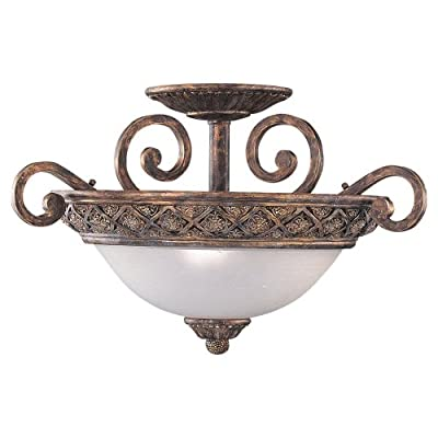 Sea Gull Lighting 3-Light Highlands Close-to-Ceiling Fixture, Dusted Ivory Glass Bowl