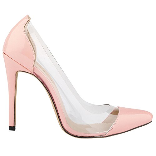 Zapatos De Mujer Loslandifen Cerrado Tacones Altos Zapatos De Mujer Delgado Señaló Bombas De Cuero C-rosa