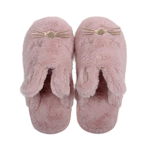 Cute Plush Bunny Animal Slippers for Women Indoor Outdoor Red