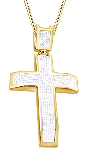 2.15Ct White Cubic Zirconia Hip Hop Jewelry Cross Pendant In 14K Gold Over Sterling Silver by Wishrocks