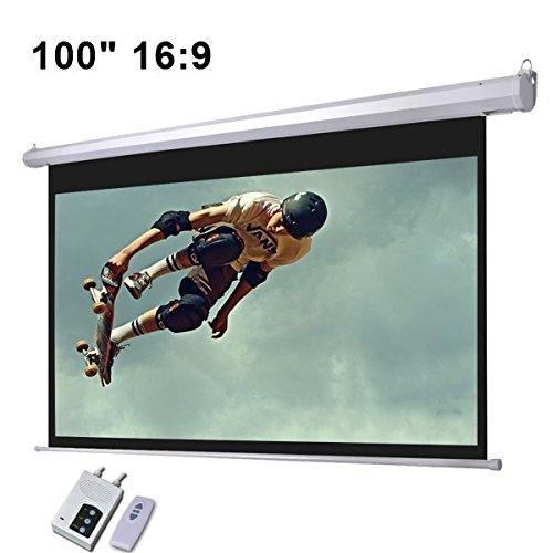 電子壁/天井マウント可能な電動式スクリーンマットホワイトW /リモート 100