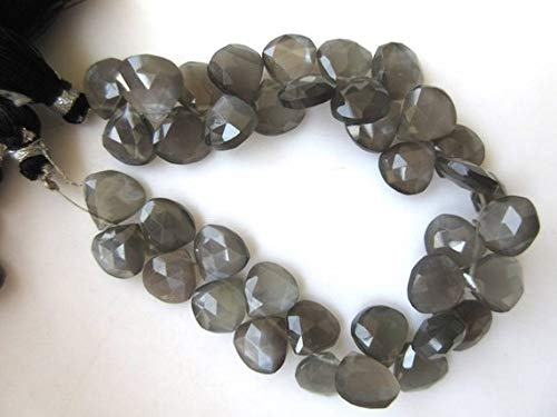 Super Quality Gemstone Beautiful Jewelry Natural Grey Moonstone Heart Shaped Faceted Briolette Beads, 12mm To 14mm3.75
