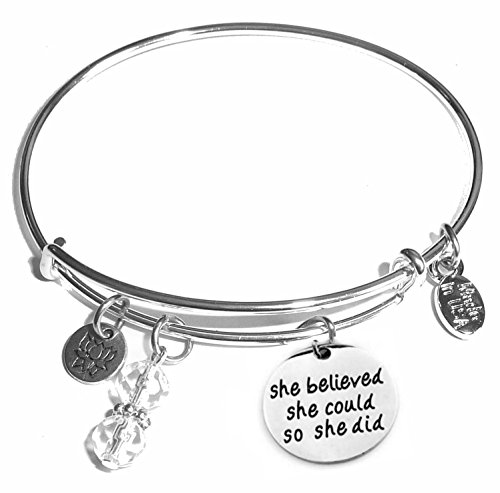 Message Charm (22 words to choose from) Expandable Wire Bangle Bracelet, in the popular style, COMES IN A GIFT BOX! (She Believed She Could)