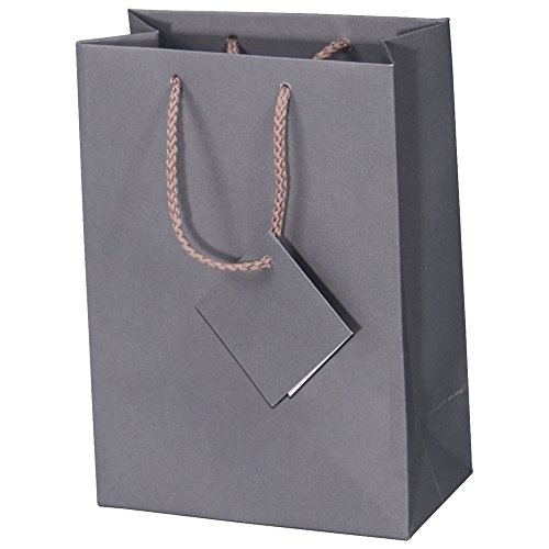 10 pcs Large Matte Dark Grey Shopping Paper Gift Sales Tote Bags with Blank Message Tag 8