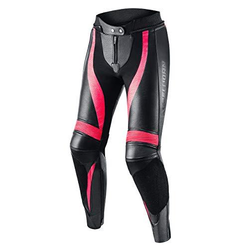 REBELHORN Rebel Lady Leder Motorradhose für Frauen Knie und Hüftprotektoren Kevlar Verstärkungen Belüftung Elastische…