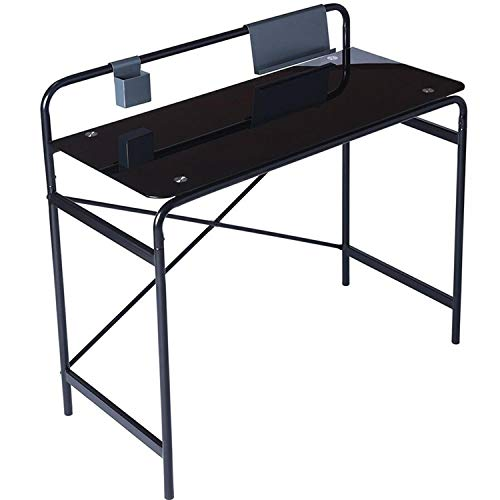 Desk Office Bedroom - Coavas Glass Study Desk Writing Desk Student Laptop Table Computer Desk with Metal Frame Bedroom Workstation for Home Office- Black