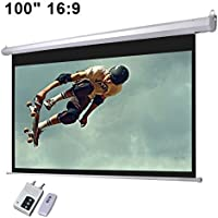 Electronic Wall/Ceiling Matte White Mountable Motorized Projection Screen w/ Remote (100 16:9 Aspect Ratio)