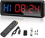 """Seesii Interval Timer Count Down/Up Clock, 1.5"""" Digits LED Gym Timer Stopwatch with Remote for Home Gym F"""