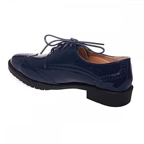 Primtex - Zapatos de cordones para mujer azul marino