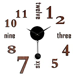 Clever Creations Faux Brown Wood DIY Battery Powered Adhesive Pendulum Wall clock - 25 x 25