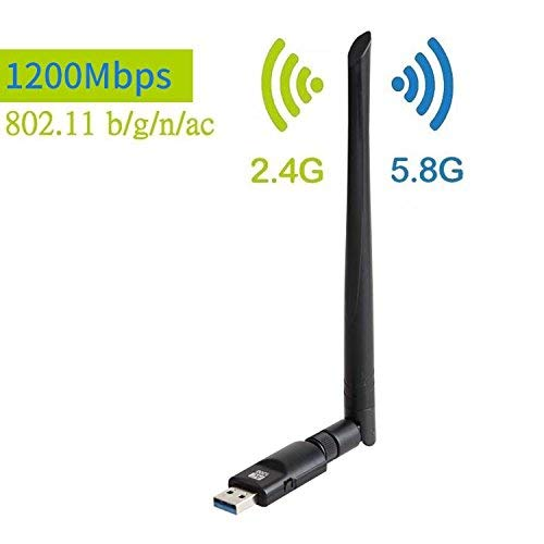 JACSSO 1200Mbps Wireless USB WiFi Adapter, Dual Band (2.4G/150Mbps+5G/433Mbps) Wireless USB WiFi Adapter,802.11N/G/B Antenna Network LAN Card for Windows XP/Vista/7/8/8.1/10 (32/64bits) MAC OS