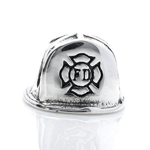 Queenberry Sterling Silver Firefighter Helmet European Style Bead Charm - Firefighter Helmet Charm