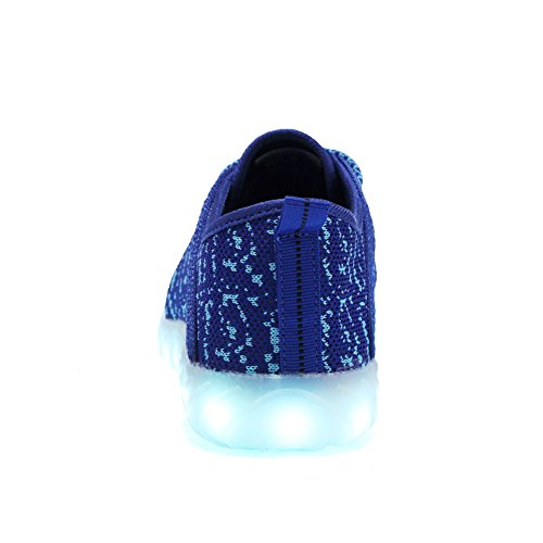 EQUICK Kinder LED Leuchten Schuhe Breathable stricken Kinder Casual Laufschuhe (kleines Kind / großes Kind) C.blau