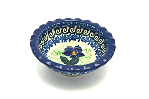Polish Pottery Dish - Food Prep - Round - Blue Pansy by Polish Pottery Gallery