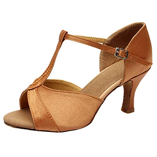 YKARITIANNA Women's Color Fashion Rumba Waltz Prom Ballroom Latin Salsa Dance Shoes Sandals 2019 Summer Brown ()