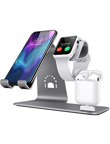 Bestand 3 in 1 Apple iWatch Stand, Airpods Charger Dock, Phone Desktop Tablet Holder for Airpods, Apple Watch/iPhone X/8 Plus/8/7 Plus/iPad, Grey(Patenting, Airpods Charging Case NOT Included) by Bestand