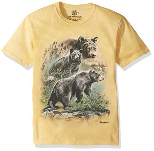The Mountain Three Black Bears Adult T-Shirt, Yellow, Large