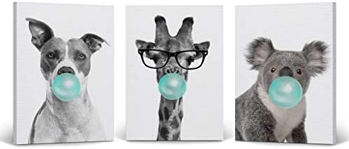 Smile Art Design Dog Giraffe Koala Animal Bubble Gum Art 3 Panel Canvas Print Set Teal Blue Black and White Wall Art Home Decor Pop Art Living Room Kids Room Nursery Ready to Hang Made