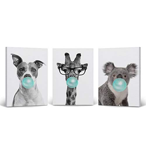 (Dog Giraffe Koala Animal Bubble Gum Art 3 Panel Canvas Print Set Teal Blue Black and White Wall Art Home Decor Pop Art Living Room Kids Room Nursery Ready to Hang-%100 Handmade in USA- 22x15)