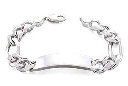Engravable Id Bracelet (6mm (150 Gauge) Italian .925 Sterling Silver Figaro Link Unisex ID Bar Bracelet (Engravable) (7.5 Inches))