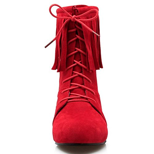Basse Red RAZAMAZA Modello Donna Stringate Stivali Fringe Scarpe qxY7nT