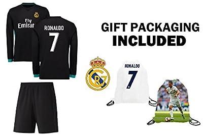 Fan Kitbag Ronaldo #7 Real Madrid Away Long Sleeve Youth Soccer Jersey & Shorts Kids Premium Gift Kitbag ? BONUS Ronaldo #7 Picture Backpack