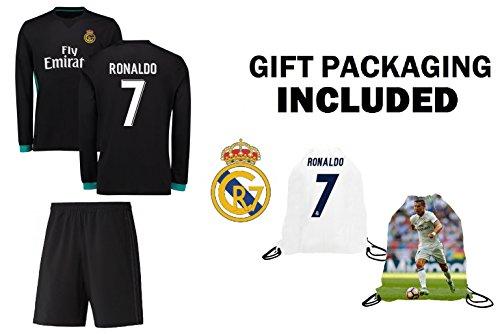 Fan Kitbag Ronaldo #7 Real Madrid Away Long Sleeve Youth Soccer Jersey & Shorts Kids Premium Gift Kitbag ✮ BONUS Ronaldo #7 Picture Backpack (Long Sleeve, YM 8-10 Years Old)