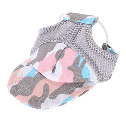 POPETPOP Pet Sun Protection hat Dog Puppy Baseball Cap Visor hat Sunhat with Adjustable Chin Strap (Camouflage Pink L)