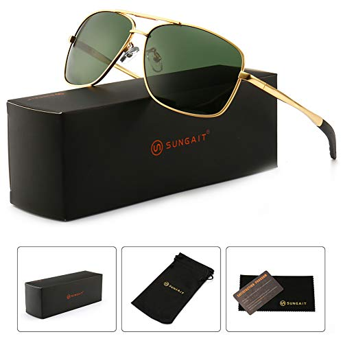 SUNGAIT Men's Polarized Sunglasses Durable Metal Frame for Fishing Driving Golf (Gold Frame/Green Lens) Metal Frame 0925 JKLV -