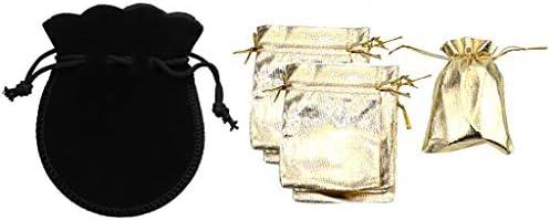 FLAMEER 20ピースジュエリーベルベットバッグ&オーガンザジュエリーポーチドローストリングバッグ-ジュエリー用ゴールドと黒の布収納ポーチ(2サイズ)
