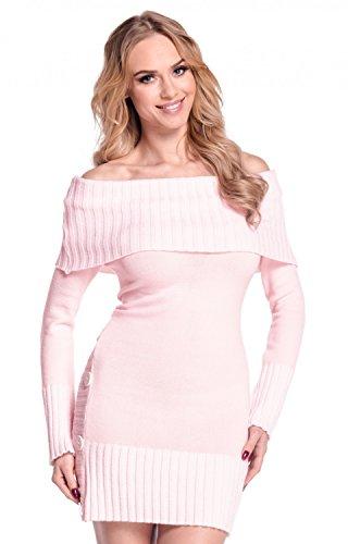 Bardot pullover 913 Maglione Vestito Cipria Empire maglia Rosa Donna Glamour Lungo scollo zwfUIYzq