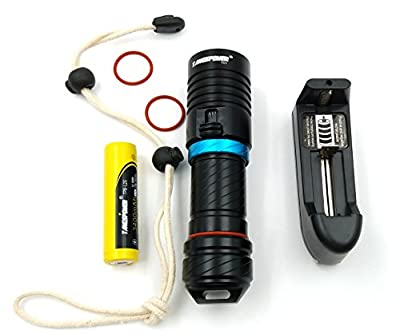 CREE 1200 Lumen XM-L T6 Zoomable Focus Outdoor LED Flashlight Torch 5-Mode for Cycling, Climbing, Camping+2x 3000Mah Rechargeable 18650 Battery&Two Slot Smart Charger