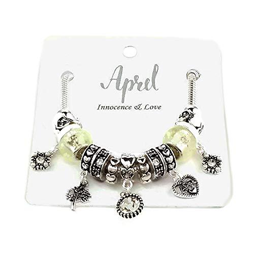 Stone Multi Charm (Emulily Birthstones Inspirational Birthday Gifts Month Birthday Stone Charms Bracelet Multi Beads (April))