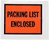 Quality Park 46895 Full-print front self-adhesive packing list envelopes, bright orange, 100/box