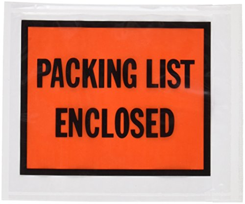 Quality Park 46895 Full-print front self-adhesive packing list envelopes, bright orange, (Print Self Adhesive Packing)