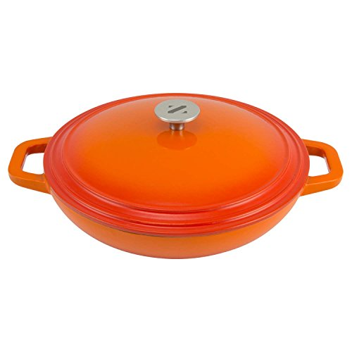 Zelancio Cookware 3 Quart Enameled Cast iron Casserole Dish with lid. Perfect Braiser Pan for Cooking your Favorite Slow Cooker Meals (Orange)