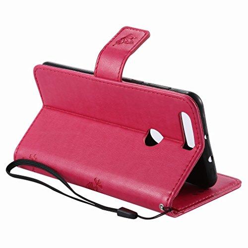 Yiizy Huawei Honor 8 Custodia Cover, Alberi Disegno Design Sottile Flip Portafoglio PU Pelle Cuoio Copertura Shell Case Slot Schede Cavalletto Stile Libro Bumper Protettivo Borsa (Red Rose)