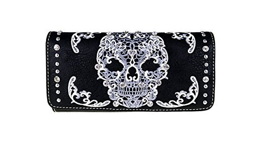 est Sugar Skull Collection Tri-Fold Wallet Wristlet (Black/White) (Black Skull Tri Fold Wallet)