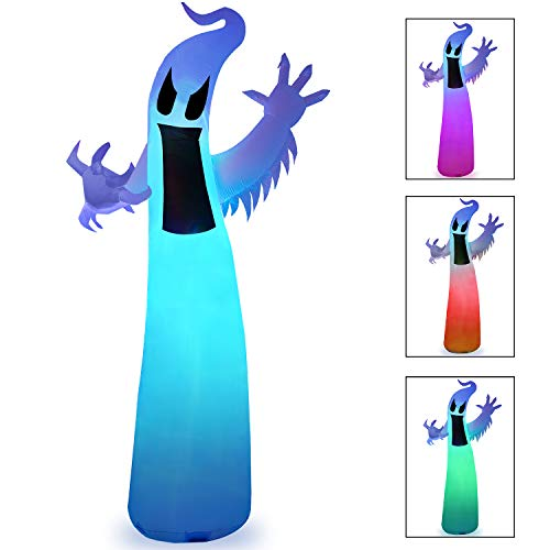 Ghosts Of Halloween (12 Ft Halloween Inflatable Ghost with Color Changing LEDs for Indoor Outdoor Yard Lawn Party)